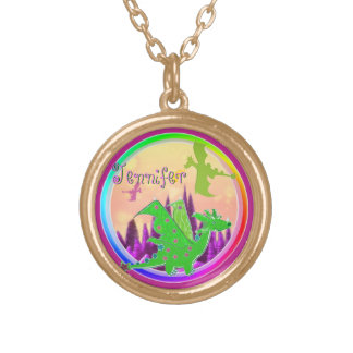 Cute Green Dragon with customizable Name Jennifer Round Pendant Necklace