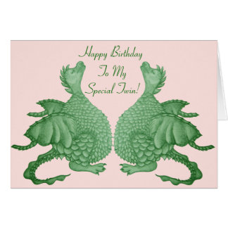 cute green dragons mythical fantasy creature twin card