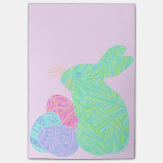 Cute Green Easter Bunny & Eggs Custom Sticky Notes