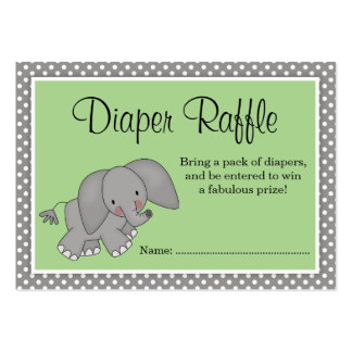 Cute Green Elephant Baby Shower Diaper Raffle Large Business Cards (Pack Of 100)