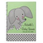 Cute Green Elephant Baby Shower Guest Book Notebook