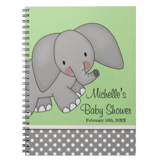 Cute Green Elephant Baby Shower Guest Book Spiral Note Books