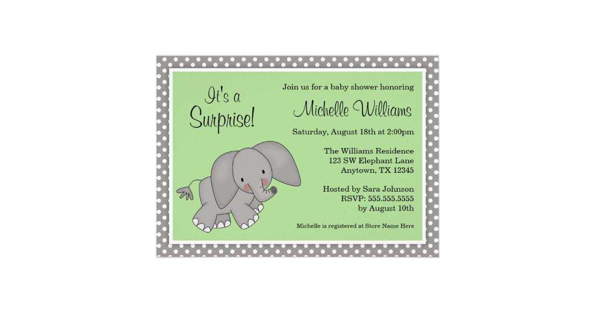 Cute Green Elephant Gender Neutral Baby Shower Invitations