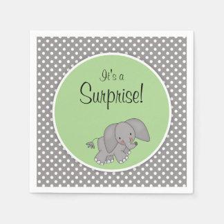 Cute Green Elephant Gender Neutral Baby Shower Standard Cocktail Napkin