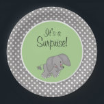 "Cute Green Elephant Gender Neutral Baby Shower Paper Plate<br><div class=""desc"">A sweet elephant baby shower paper plate design. Featuring a whimsical elephant illustration on green background with gray polka dots. Perfect for a gender neutral baby shower party! Graphics &#169; Scrappin Doodles at www.scrappindoodles.com</div>"