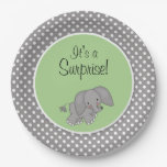 Cute Green Elephant Gender Neutral Baby Shower Paper Plate
