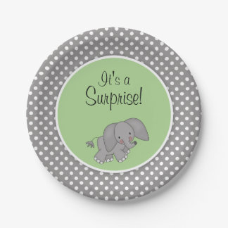 Cute Green Elephant Gender Neutral Baby Shower 7 Inch Paper Plate