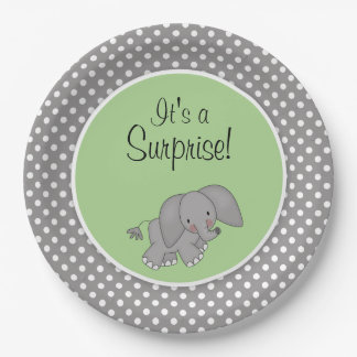 Cute Green Elephant Gender Neutral Baby Shower 9 Inch Paper Plate