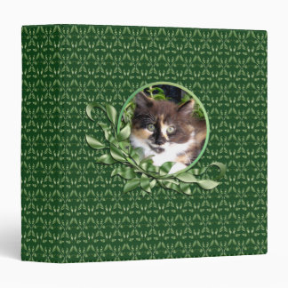 Cute Green Eyed Calico Kitten 1.5 Inch Binder