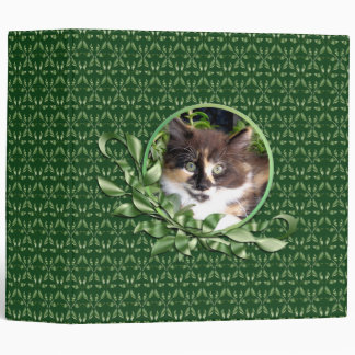 Cute Green Eyed Calico Kitten 2 Inch Binder