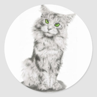 Cute Green Eyed Cat Classic Round Sticker