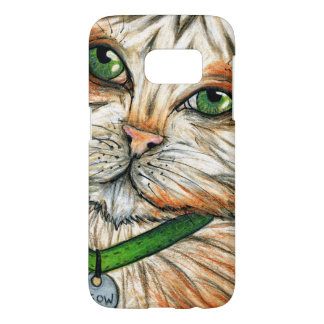 Cute Green Eyed Cat Drawing, Feline Face Whiskers Samsung Galaxy S7 Case
