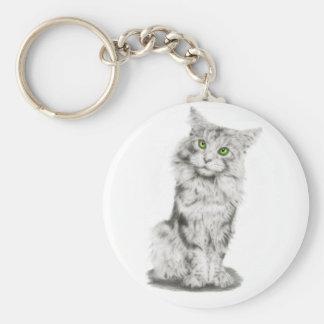 Cute Green Eyed Cat Keychain