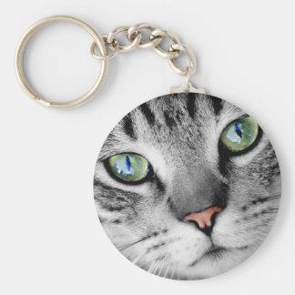 Cute green eyed cat portrait basic round button keychain