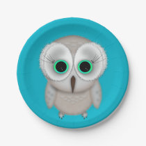 Cute Green Eyed Owl Illustration Paper Plate