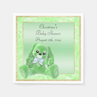 Cute Green Floppy Ears Bunny Baby Shower Napkin