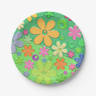 Cute Green Floral Paper Plates 7 Inch Paper Plate