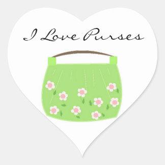 Cute Green Floral Purse Heart Sticker