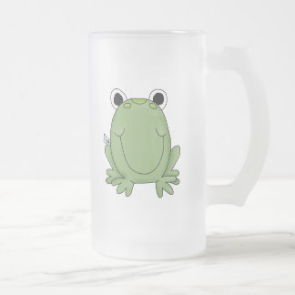 Cute Green Freddy Frog Frosted Glass Beer Mug