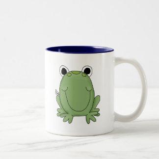 Cute Green Freddy Frog Two-Tone Coffee Mug