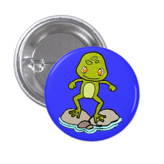 Cute green frog 1 inch round button