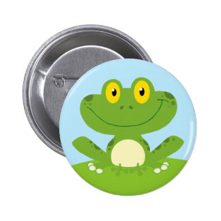 Cute Green Frog 2 Inch Round Button