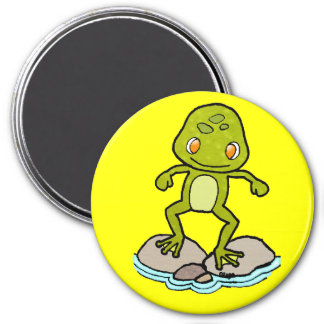 Cute green frog 3 inch round magnet