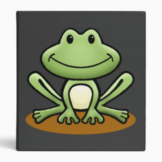Cute Green Frog 3 Ring Binder