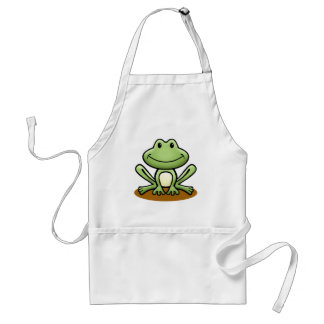 Cute Green Frog Adult Apron