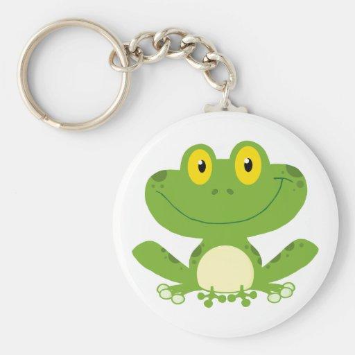 Cute Green Frog Basic Round Button Keychain