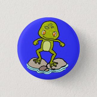 Cute green frog button