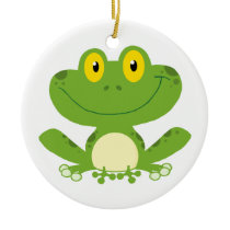 Cute Green Frog Ceramic Ornament