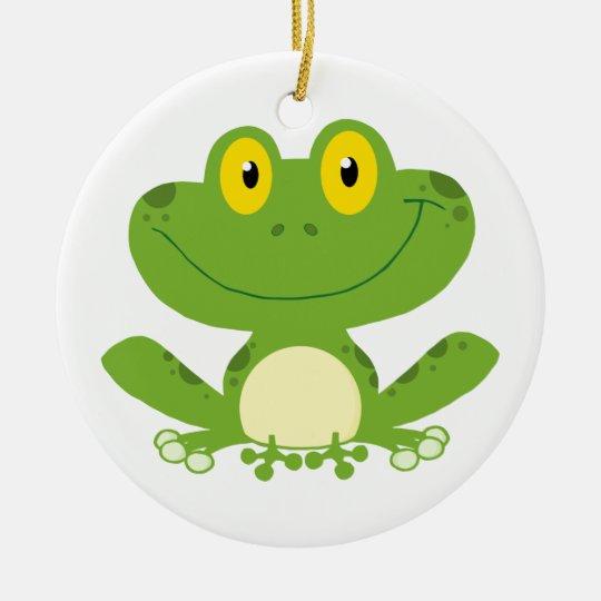 Cute Green Frog Ceramic Ornament