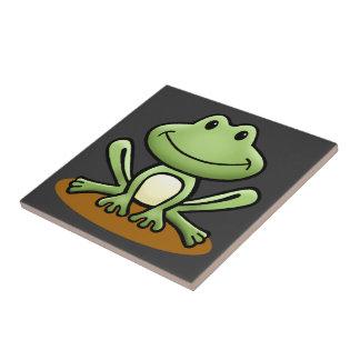 Cute Green Frog Ceramic Tile