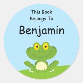 Cute Green Frog Classic Round Sticker