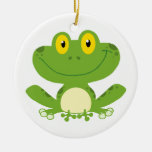 Cute Green Frog Double-Sided Ceramic Round Christmas Ornament