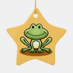 Cute Green Frog Double-Sided Star Ceramic Christmas Ornament
