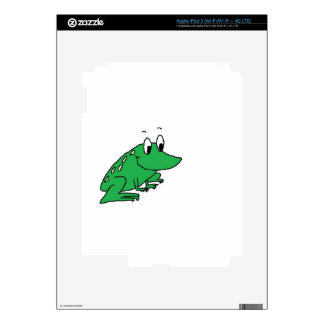 Cute green frog drawing iPad 3 decals
