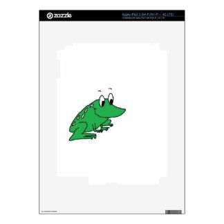 Cute green frog drawing iPad 3 decals