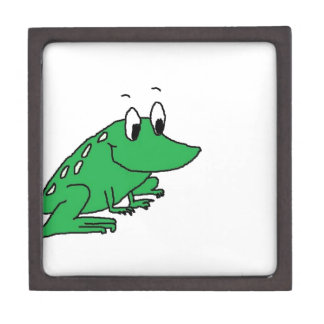 Cute green frog drawing jewelry box