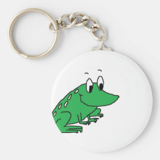 Cute green frog drawing keychain
