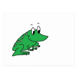 Cute green frog drawing postcard