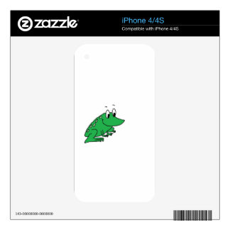 Cute green frog drawing skin for iPhone 4S