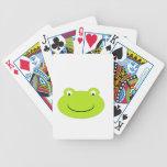 Cute Green Frog Face Card Deck