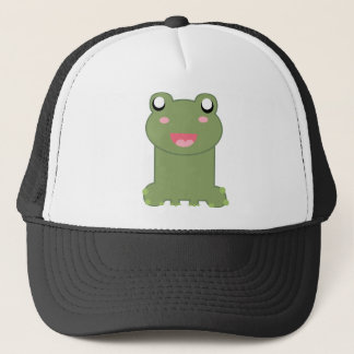 Cute Green Frog Illustration Trucker Hat