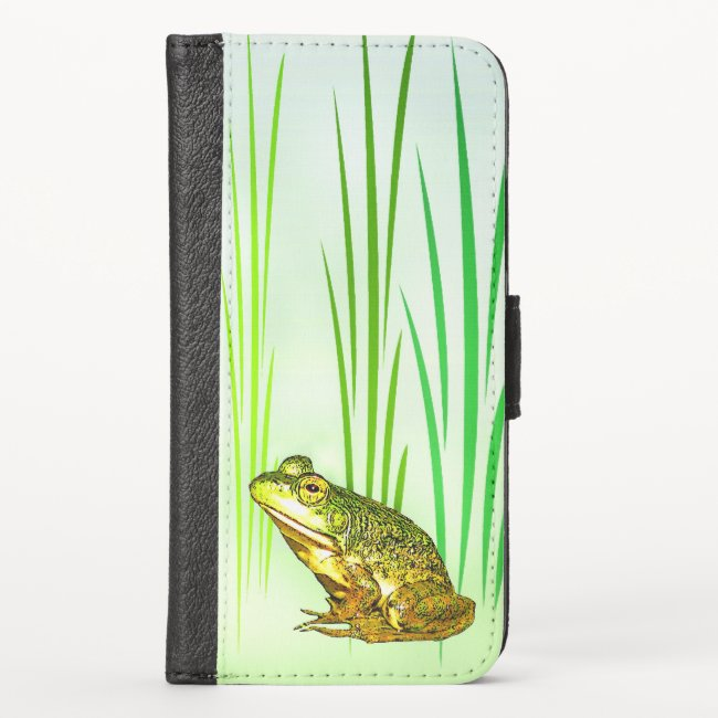 Cute Green Frog iPhone X Wallet Case
