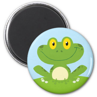 Cute Green Frog 2 Inch Round Magnet