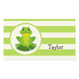 Cute Green Frog on Striped Pattern Business Card