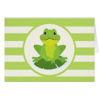 Cute Green Frog on Striped Pattern Stationery Note Card