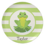 Cute Green Frog on Striped Pattern Dinner Plates